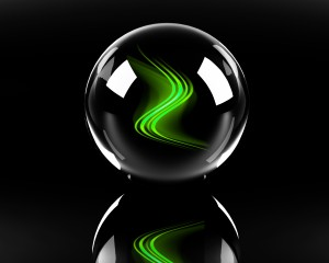 Future is IT-bright green abstract waves in the glass sphere on the black background